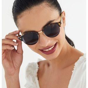 UO Tortoise Half Frame Round Sunglasses